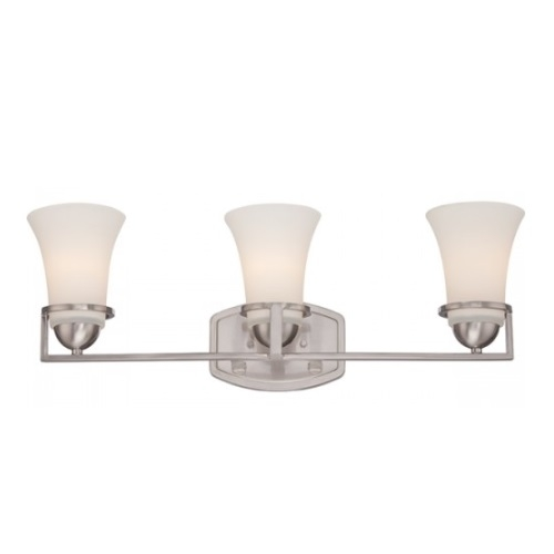 Neval 3-Light Vanity Light Fixture, Brushed Nickel, Satin White Glass