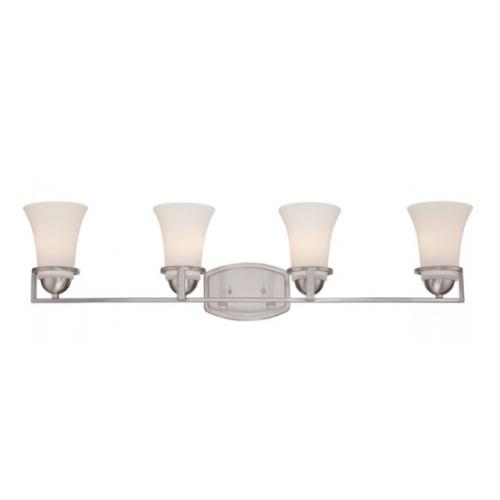 Neval 4-Light Vanity Light Fixture, Brushed Nickel, Satin White Glass