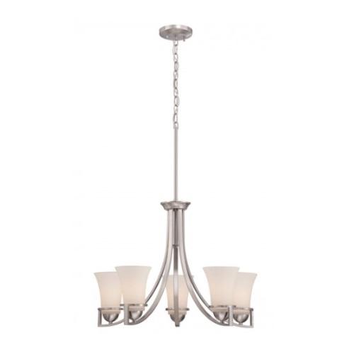 Neval 5-Light Chandelier Light Fixture, Brushed Nickel, Satin White Glass