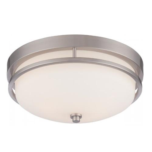 Neval Flush Mount Light Fixture, Brushed Nickel, Satin White Glass