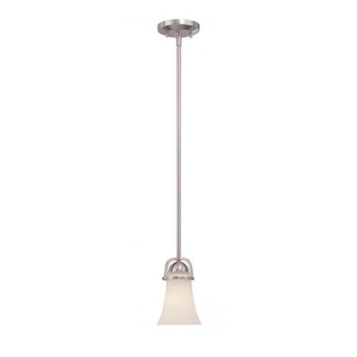 Neval Mini Pendant Light Fixture, Brushed Nickel, Satin White Glass