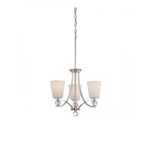 Connie Chandelier Light, Satin White Glass
