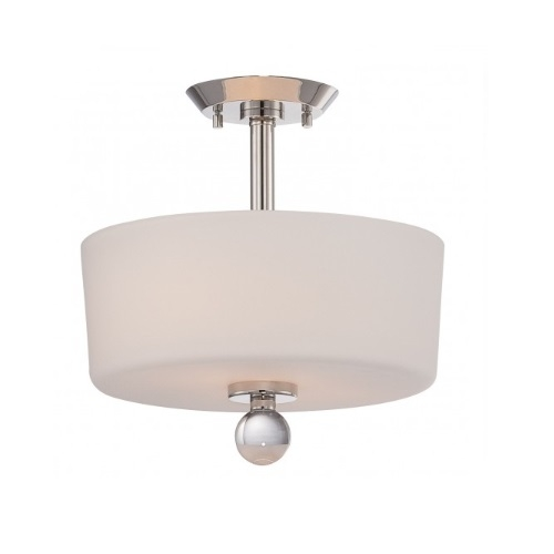 Connie Semi Flush Light, Satin White Glass