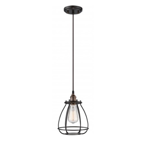 "100W Vintage 10.75"" 1-Light Caged Mini Pendant Light, Rustic Bronze"
