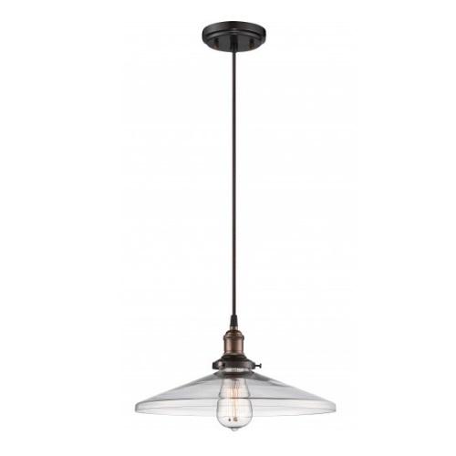 "100W Vintage 6.375"" Pendant Light Fixture, Rustic Bronze"