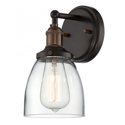 """100W Vintage 5.125"""" Wide Wall Sconce, Clear Glass Shade, Rustic Bronze"""