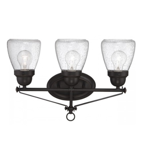 Laurel 3-Light Vanity Light Fixture, Sudbury Bronze, Clear Seeded Glass