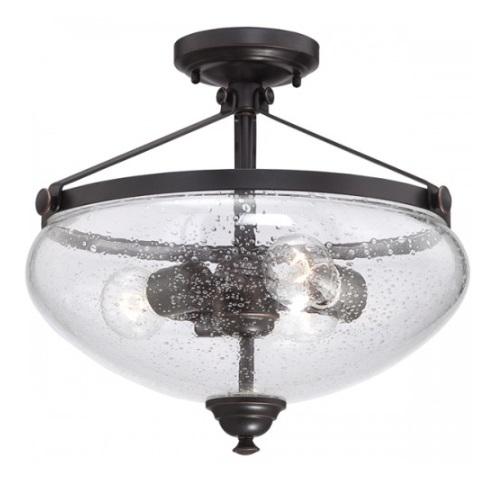 Laurel 3-Light Semi-Flush Light Fixture, Sudbury Bronze, Clear Seeded Glass