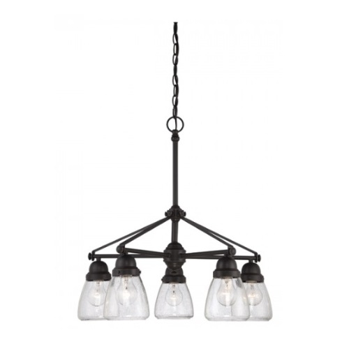 Laurel 5-Light Chandelier Light Fixture, Sudbury Bronze, Clear Seeded Glass