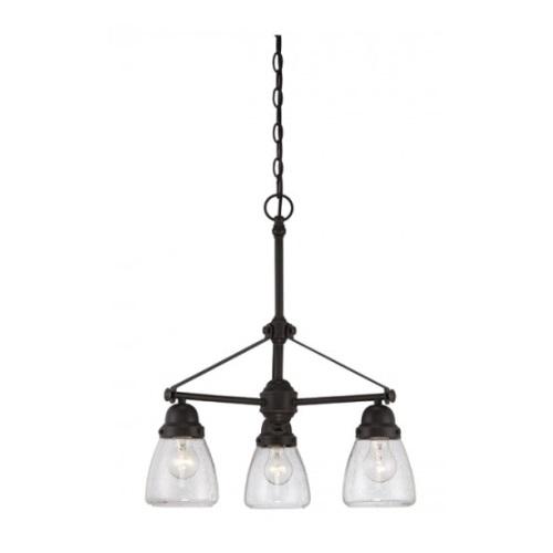 Laurel 3-Light Chandelier Light Fixture, Sudbury Bronze, Clear Seeded Glass