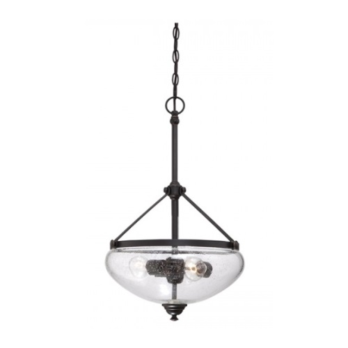 Laurel 3-Light Pendant Light Fixture, Sudbury Bronze, Clear Seeded Glass