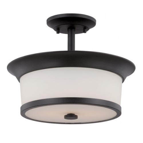 Mobili Semi-Flush Mount Ceiling Light, Aged Bronze, Satin White Glass