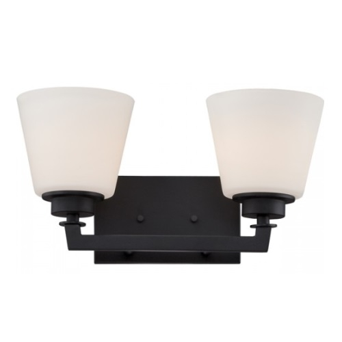 Mobili 2-Light Vanity Light Fixture, Aged Bronze, Satin White Glass