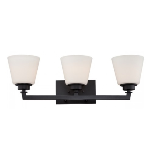 Mobili 3-Light Vanity Light Fixture, Aged Bronze, Satin White Glass