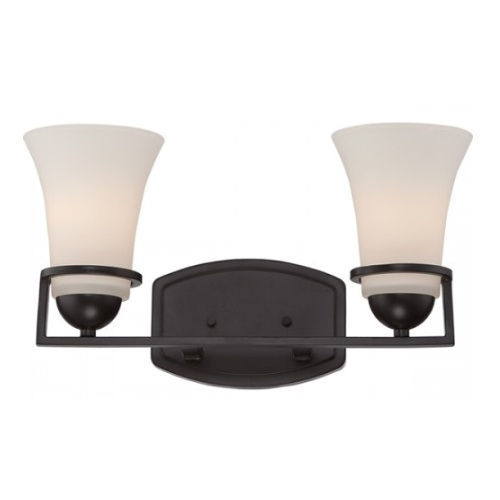 Neval 2-Light Vanity Light Fixture, Sudbury Bronze, Satin White Glass