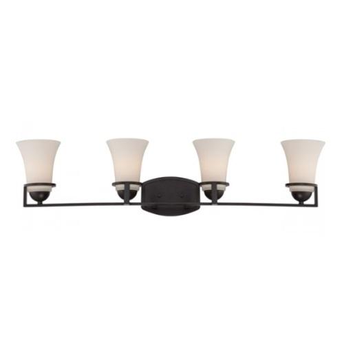 Neval 4-Light Vanity Light Fixture, Sudbury Bronze, Satin White Glass