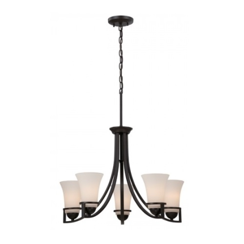 Neval 5-Light Chandelier Light Fixture, Sudbury Bronze, Satin White Glass