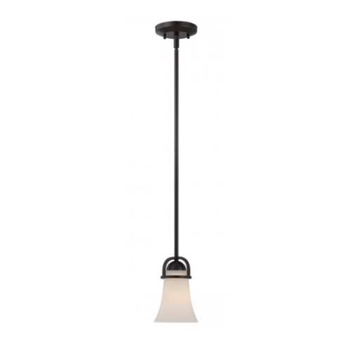 Neval Mini Pendant Light Fixture, Sudbury Bronze, Satin White Glass