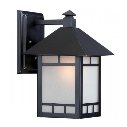 "Drexel 7"" Outdoor Wall Fixture, Stone Black, Frosted Seed Glass"