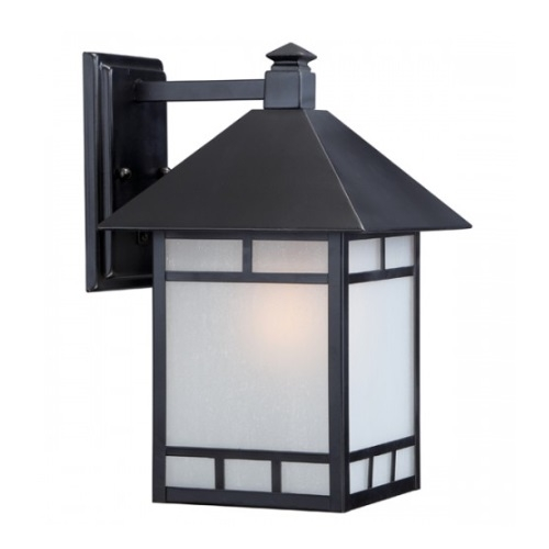 "Drexel 9"" Outdoor Wall Fixture, Stone Black, Frosted Seed Glass"