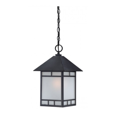 Drexel Outdoor Hanging Light Fixture, Stone Black, Frosted Seed Glass