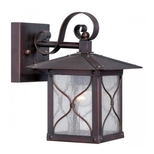 "Vega 6.5"" Outdoor Wall Light Fixture, Classic Bronze, Clear Seed Glass"