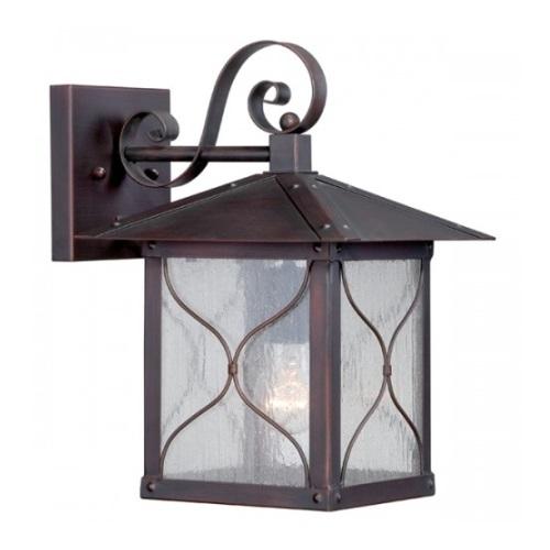 "Vega 9"" Outdoor Wall Light Fixture, Classic Bronze, Clear Seed Glass"