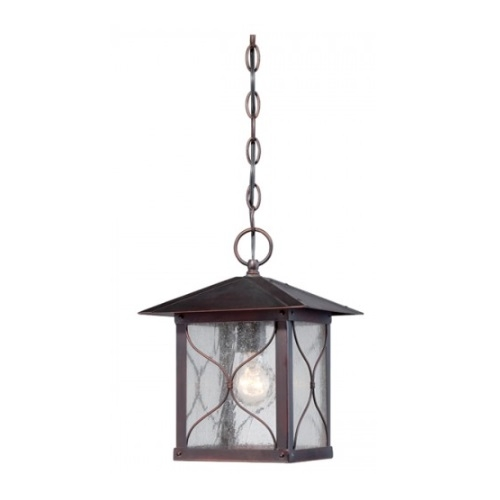 Vega Outdoor Hanging Light Fixture, Classic Bronze, Clear Seed Glass