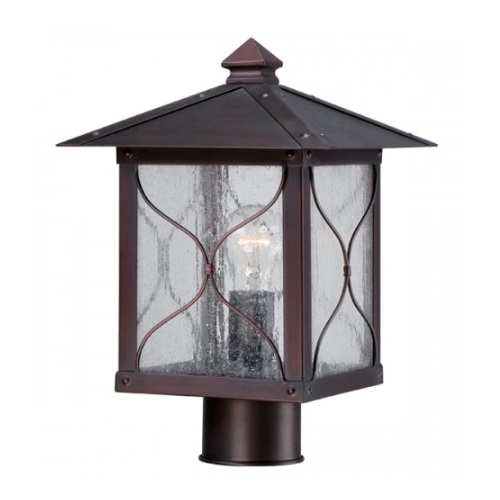 Vega Outdoor Post Light Fixture, Classic Bronze, Clear Seed Glass