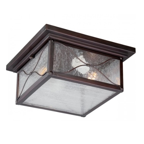 Vega 2-Light Outdoor Flush Mount Fixture, Classic Bronze, Clear Seed Glass