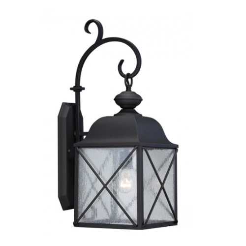 "Wingate 8"" Outdoor Wall Light fixture, Texured Black, Clear Seed Glass"