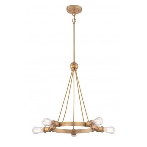 500W 5-Light Paxton Chandelier Light Fixture, Natural Brass