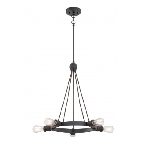 500W 5-Light Paxton Chandelier Light Fixture, Aged Bronze