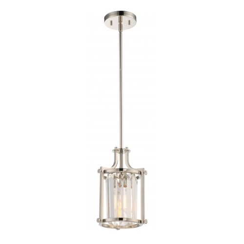 Nuvo Krys Crystal Mini Pendant Light Fixture Polished Nickel