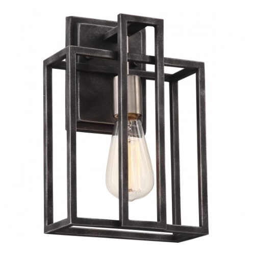 60W Lake Wall Sconce Light, Iron Black, Brushed Nickel Accents Finish