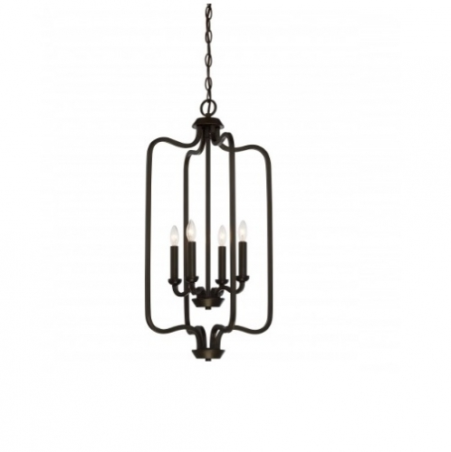 240W Willow Pendant Light, Caged, 4-Light, Forest Bronze