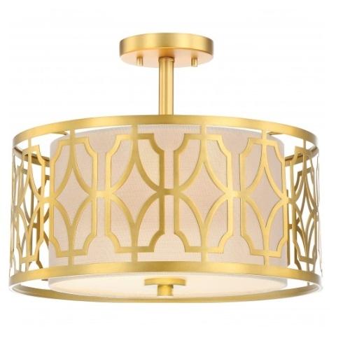 Filigree LED Semi Flush Mount Light, Natural Brass Finish
