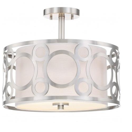 Filigree LED Semi Flush Mount Light, Brushed Nickel Finish