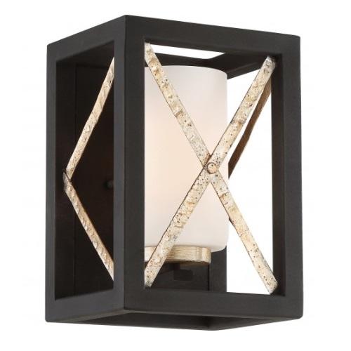 Boxer Wall Sconce Light Fixture, Matte Black w/ Antique Silver Accents