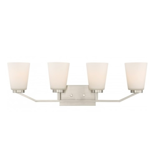 Nome 4-Light Vanity Light Fixture, Brushed Nickel, Frosted Glass