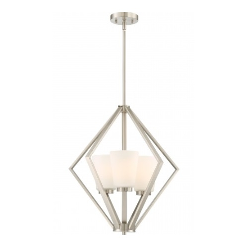 Nome 3-Light Pendant Light Fixture, Brushed Nickel, Frosted Glass