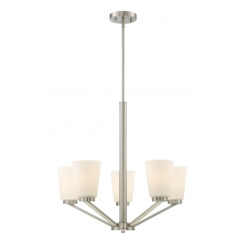 Nome 5-Light Chandelier Light Fixture, Brushed Nickel, Frosted Glass
