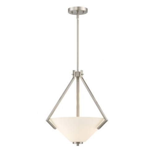Nome 2-Light Pendant Light Fixture, Brushed Nickel, Frosted Glass