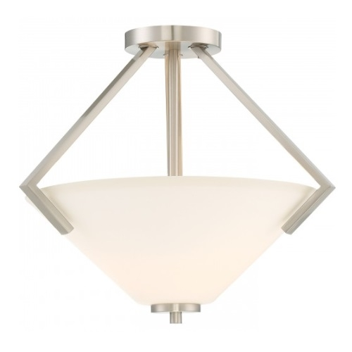 Nome 2-Light Semi-Flush Light Fixture, Brushed Nickel, Frosted Glass