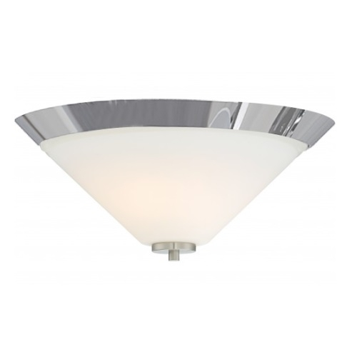 Nome 2-Light Flush Mount Light Fixture, Brushed Nickel, Frosted Glass