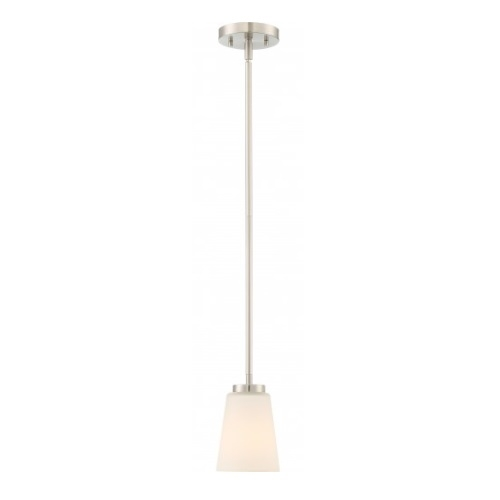 Nome Pendant Light Fixture, Brushed Nickel, Frosted Glass