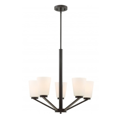 Nome 5-Light Chandelier Light Fixture, Mahogany Bronze, Frosted Glass