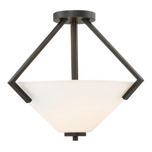 Nome 2-Light Semi-Flush Light fixture, Mahogany Bronze, Frosted Glass