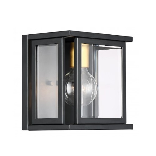 Payne Wall Sconce Light Fixture, Midnight Bronze, Clear Beveled Glass