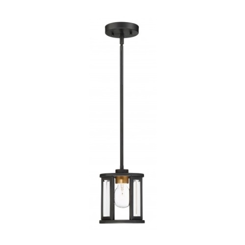 Payne Mini Pendant Light Fixture, Midnight Bronze, Clear Beveled Glass
